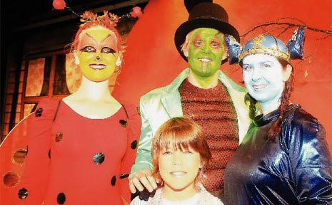 MUWILLUMBAH cast members Brodie Reilly playing Lady Bird, Logan Reilly as the old green Grasshopper, Koby L'Estrelle as lead James and Leah Coleman playing Centipede.