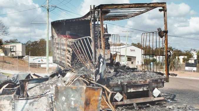 A trailer full of electronic goods was burnt to the ground in Dennis Street, Boyne Island.