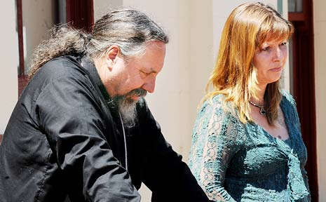 AT ODDS: Justine Kelly, the mother of Alex Wildman, and Pastor Gary Dronfield outside the Ballina Courthouse yesterday.
