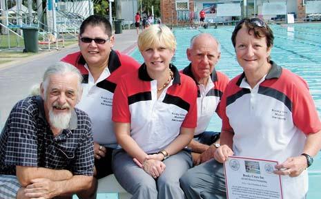 COME ON IN: From left, John Hardman (new member), Lynn Bradbury (life member), Kathy Batts (president), Bryan Graff (club captain) and Leslie Smith (secretary) of Rocky Crocs Masters Swimming Club.