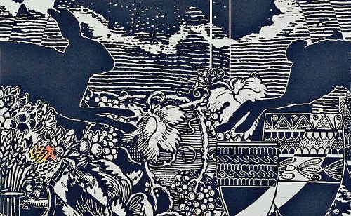 This linocut, Autumn, is part of a series of four prints by Jenny Kitchener titled The Four Seasons. It's in her new exhibition.