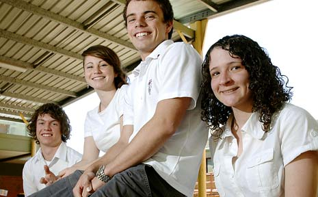 ON TRACK: Alstonville Year 12 students (from left) Will Maxwell, 18, Elise McCarthy, 17, Matt Goldie, 18, and Keely Gordon-King, 18, are relieved after breaking the HSC 'ice' with their English exam.