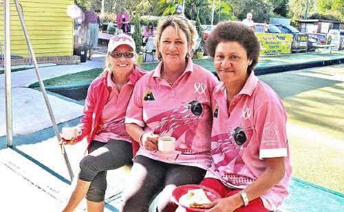 Pretty in pink – Nimbin Bowling Club Ladies Committee members Pat MacDonald, Sharon Eldridge and Viola Asi at last year's Pink Ribbon Day event.