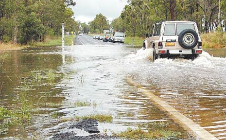 Hervey Bay-Torbanlea Road was covered by up to 40cm of water during a downpour earlier this year.