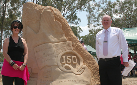 SET IN STONE: Artist Sarah Larsen and Banana Shire Mayor John Hooper unvieled a sculpture celebating Queesnalnd's 150th birthday and Central Telegraph's 75h anniversary.