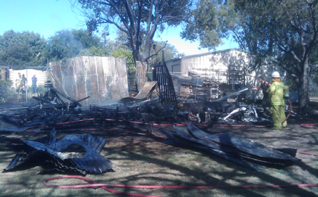 CHARRED REMAINS: A caravan and shed were destroyed in a fore at Theodore last week