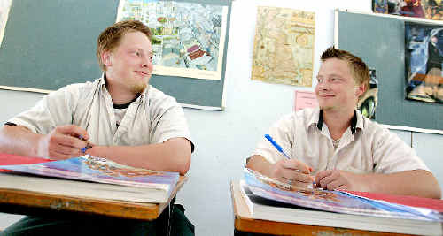 Identical twins Ethan and Matt Hyde knuckling down for the high school examinations at Wollumbin High School this week.