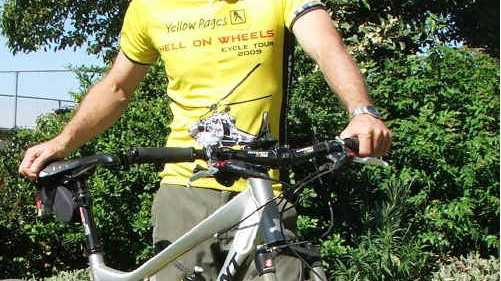 Alan Tolley, Principal of Kingscliff High School, is riding in the Yellow Pages Hell on Wheels Cycle Tour.