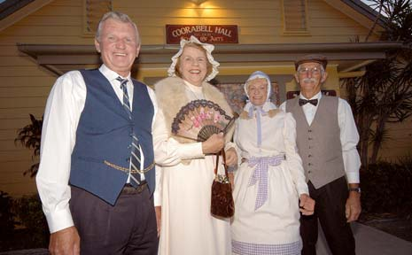 Terry and Dorothy Johnston (left), of Mullumbimby, and Janet and Ian Kneale, of Coorabell, dressed up in period costume at the centenary dance at Coorabell Hall on Saturday night.