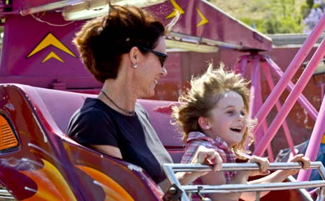 Fiona and Natalie, 6, Fennamore having a great time on the  Octopus ride at the North Coast National.