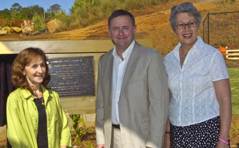 Federal Minister Anthony Albanese at the official opening of the Goonellabah Youth Plaza with Federal Page MP Janelle Saffin (left) and Lismore mayor Jenny Dowell.