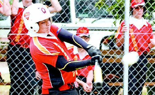 Carlin Anderson hits a home run at the state titles for Bundaberg. The Gympie product has been selected in the Queensland team for his efforts.