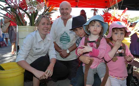 Director of the Byron Shire Early Intervention Service, Zoe Webster, with Byron Farmers Market Manager Donald Recsei, Kai Dubois, and Nella and Maeve Hart.
