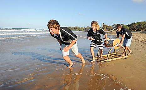 Life long Surf Lifesaving mates Ben Sheppard, Josh McDuff and Jamie Findlay are representing Bundaberg in the North Australian Championships in Mackay. Photo: MAX FLEET