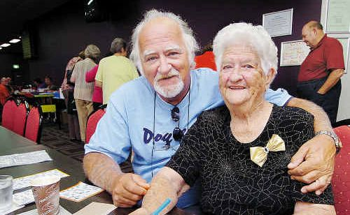 Bob Murray with his mum Patricia France at bingo at the Sportsman's Club at Urangan.