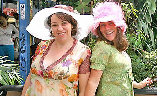 Nimbin Community Preschool mums Sian Evans (left) and Loey Elphick are all frocked up for the preschool's Melbourne Cup High Tea fundraiser in Nimbin next Tuesday.