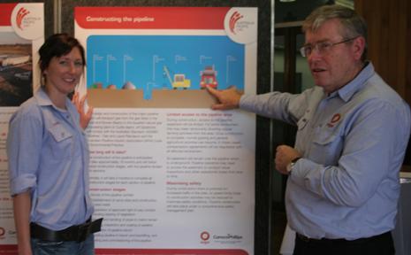 ORIGIN-AL PIPELINE: Origin energy's Lori Cranna and Ken Horton at community consutlations on the enviromental impact statement for the Australia Pacific LNP project.