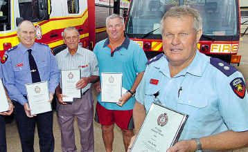 Receiving awards are Greg Walters, Bevin Warren (retired), Mark Sealey (on behalf of his dad Paul) and Alan Saxby. Graham Wex also received an award.