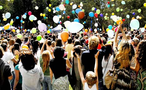 OUTSTANDING TRIBUTE: Thousands of balloons are released in memory of Jai Morcom at his funeral in Heritage Park, Mullumbimby last month.