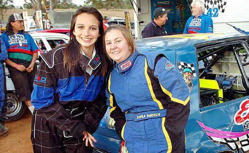 Fraser Coast drivers Alex Kuzmanovic (left) and Kayla Barron take a break.