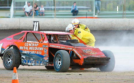 ON FIRE: Dave McKie's chances of adding to his series lead in the V8 AMCA Nationals ended up with a few problems with his vehicle which needed checking by firefighters after he left the track trailing smoke or steam.