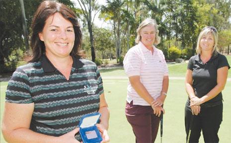 BIG WIN: Cathy Simmers, Meryl Boneham and Helen Knuth won the 2009 Gertrude McLeod event for Rockhampton Golf Club.
