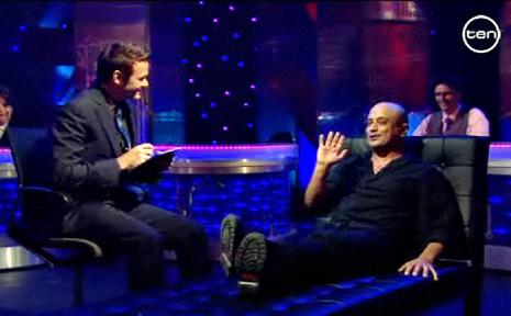 Aussie comedian Akmal Saleh is questioned by Good News Week host Paul McDermott where he tells Rockhampton people to