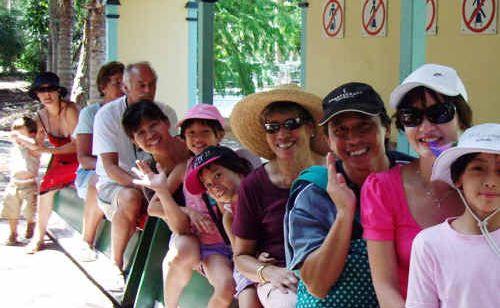 Tropical Fruit World tourists go for a ride.