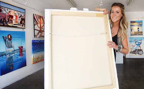 Mandy Shadforth with the June Canavan portrait which will be unveiled at the tribute dinner.