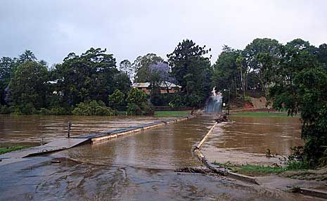 Lavenders Bridge goes under again after flooding on the Coffs Coast.