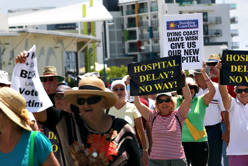 Sunshine Coast University Hospital Action Group supporters want the government to speed up construction of a new hospital in Kawana.