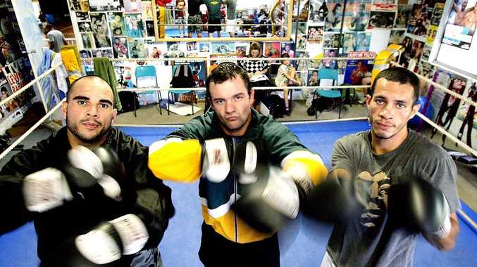 Ready for action in the next Jamie Myer Fight Night are Trevor Jacky, Matt Burns and Rob Coorey.