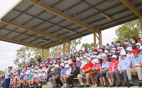 SHOCK STATISTIC: Rockhampton Acting Assistant Commissioner Steve Gollschewski addresses a crowd sitting in the grandstand at CQUniversity yesterday before a minute's silence to remember the 298 lives lost on Queensland roads this year. People in red hats represent the number of local people killed in car accidents in 2009.