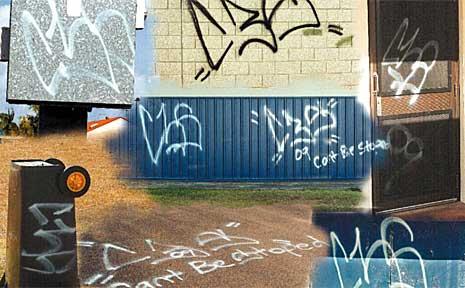 Some of the graffiti found at Hervey Bay PCYC.