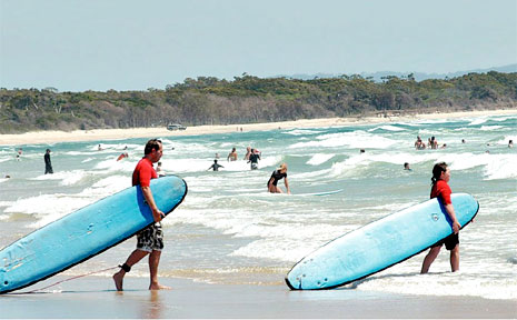 Learning to surf at Twin Waters.