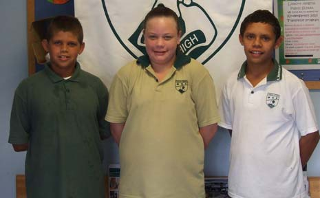 Lismore Heights Public School athletes (from left) Liam King, Shaznay Kale Kale and Zane King will compete at the PSSA national track and field championships.