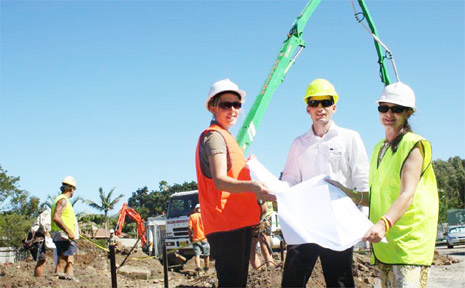Zoe Webster from Byron Intervention Services (left), Brant Wood, manager of Woollam Constructions, and Cr Jan Barham on site.