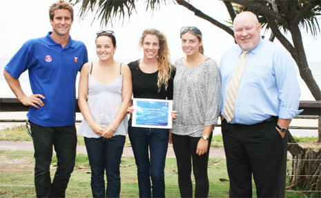 At the presentation at the Byron Bay Surf Club on Monday are (from left) Zane Holmes, Tahnee Fleming, Jeda Greenlaw and Jade Nelson-Chapman from the Byron Bay Surf Club and Michael Sharpe from Telstra.