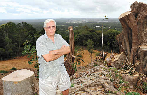 FURIOUS: Alan Thornton is outraged by the destruction of trees in the middle of Buderim.