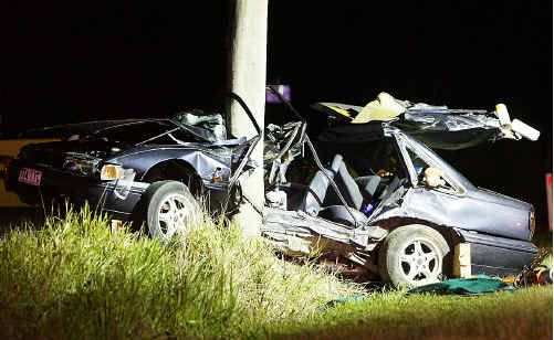 This early model Commodore slammed into a power pole on Nambour Connection Road on October 30 last year. Passenger, Jonathon Blazely, died in the crash.