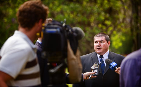 Detective Senior Constable Tony King addresses members of the national media before a coronial inquest into the death of Lee Ellen Stace.