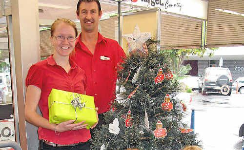 Launching the 2009 UnitingCare Christmas Appeal are UnitingCare's Lismore co-ordinator Evelyn Daley (front right) and Target Country Lismore's assistant manager Louise Gray with Target Country staff Leigha Lawlor and Dean Coleman.
