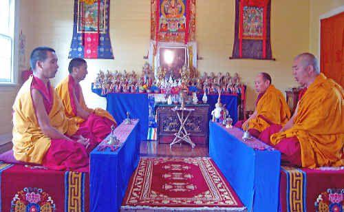 The Gyuto monks doing their morning meditation at Gyuto House in Rosebank.