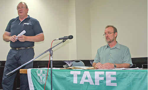 TAFE Teachers Association Wollongar campus president Brett Hunter and Far North Coast branch president Ian Newton at the stop work meeting on Tuesday.