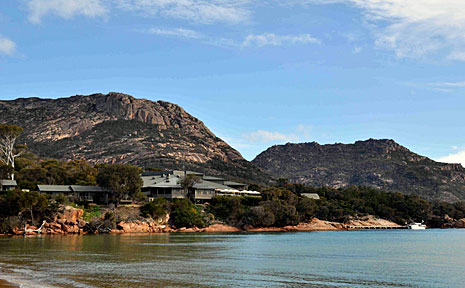 Freycinet Lodge has the Hazards mountain range as its imposing backdrop.