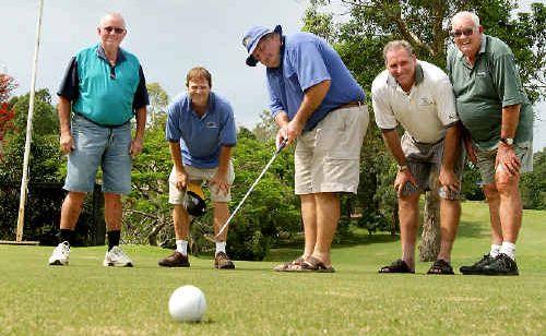Murwillumbah Services Social Golf Club's Col Chapman, John Andrews, Terry McDonald, Jeff Baker and Ted Bartrim