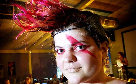 COLOURFUL: Taylor 'Trashcan' Wilson, of Ballina, modelled for her hairdresser friend Nadia de Jong, of Wollongbar TAFE at the North Coast Hair Extravaganza. Jay Cronan