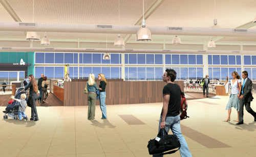 AN artist's impression of how the Gold Coast Airport departure lounge will look once renovations are complete next year.