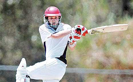 Maroochydore opening batsman Adam Thornton strikes one away against Caloundra.
