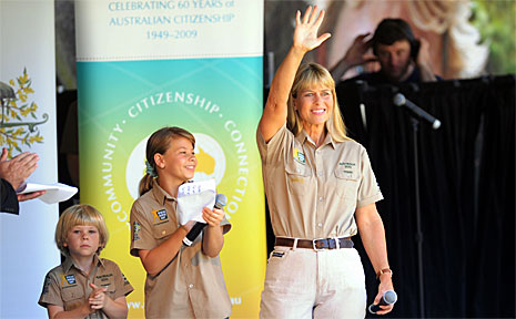 Terri Irwin with Bindi and Robert.